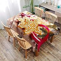 撥水 テーブルクロス クリスマスシリーズペンダントパターン 洗える (Color : 1, Size : 140x200cm)