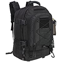 Military Expandable Travel Backpack Tactical Waterproof Work Backpack for Men(BLACK)