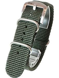 [2PiS] ( カーキ : 20mm ) ベルト厚み 1.8mm NATO 腕時計ベルト ナイロン 替えバンド ストラップ 交換マニュアル付 142-1-20