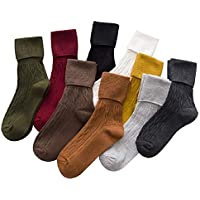 Sookiay Women's 9 Pairs Retro Style Cotton Loose Socks Casual Knit Soft Warm Pile Socks.