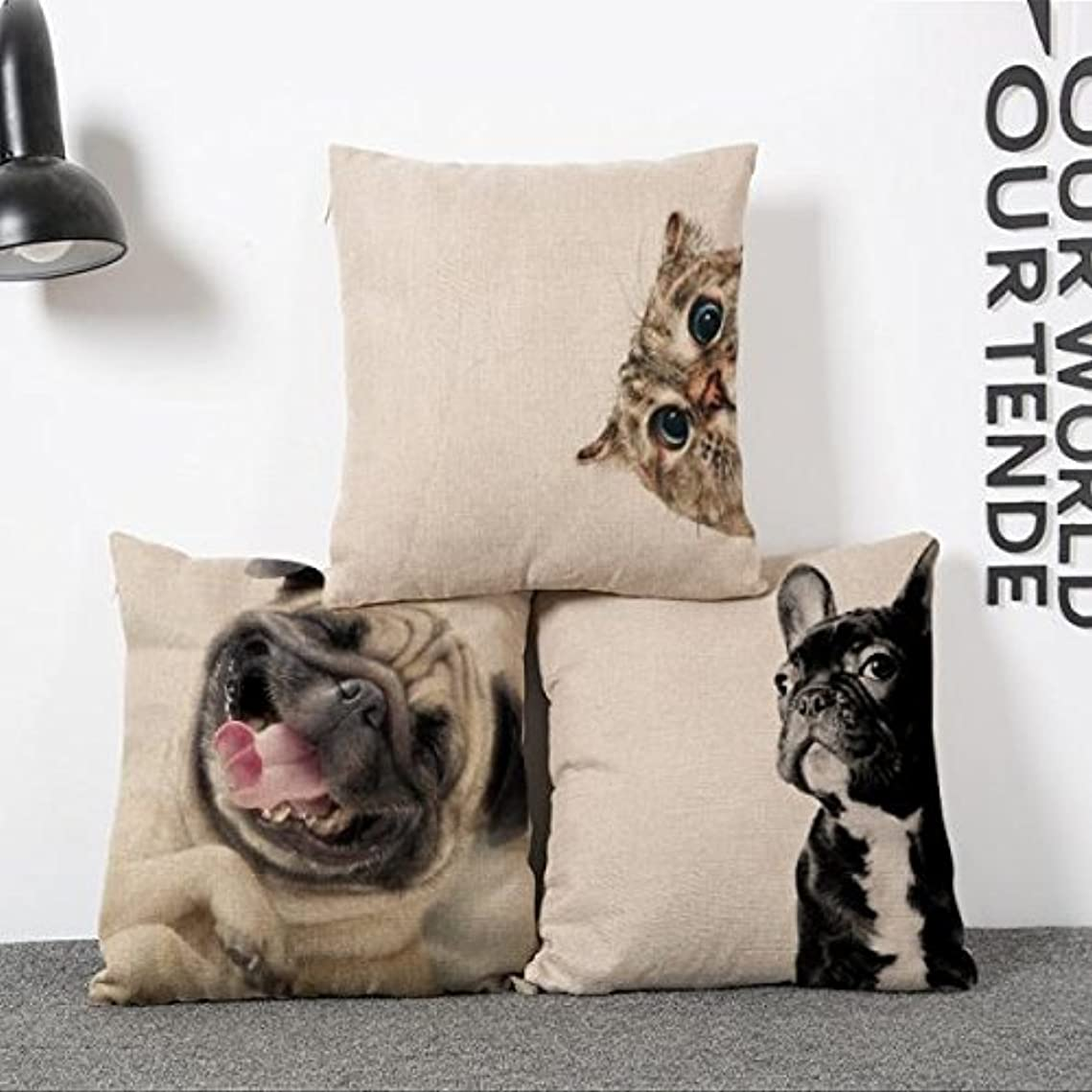 松明該当する体クッションカバー 枕カバー ベッド ソファ 装飾 45 * 45センチメートル 素敵 犬 コットン リネン