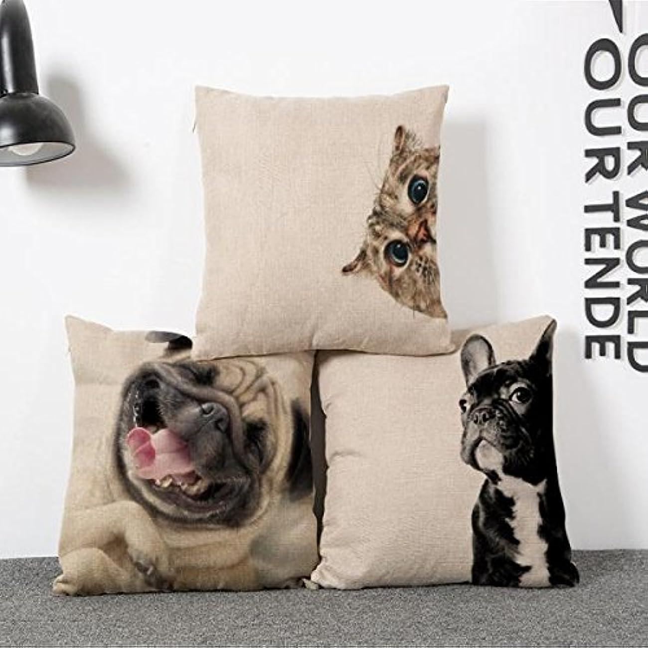 上院ループ後クッションカバー 枕カバー ベッド ソファ 装飾 45 * 45センチメートル 素敵 犬 コットン リネン