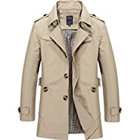 Chouyatou Men's Classic Single Breasted Lightweight Belted Trench Coat