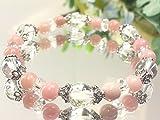 六芒星ブレスレット【ピンクオパール6ミリ・水晶8ミリ】10月誕生石
