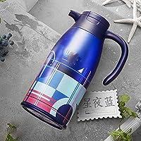 ステンレスソリッドカラー魔法瓶ポット大容量家庭用断熱材温水真空フラスコやかん保温オープンケトル2L-C 13×19.6×30.5センチ(5×8×12インチ)