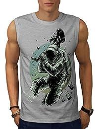 Wellcoda 宇宙飛行士 ギター スペース 男性用 S-5XL 袖なしTシャツ