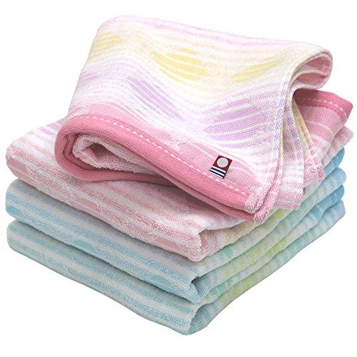 hiorie(ヒオリエ) 今治タオル 幾何ジャガード スクエア フェイスタオル 4枚セット ピンク+ブルー