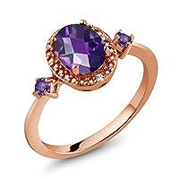 Gem Stone King 1.13カラット 天然 アメジスト 天然 ダイヤモンド シルバー925 ピンクゴールドコーティング 指輪 リング