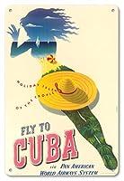 22cm x 30cmヴィンテージハワイアンティンサイン - キューバに飛びます - パンアメリカン航空システム - 熱帯の休日諸島 - ビンテージな航空会社のポスター によって作成された ユリウス・セイラー c.1950