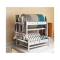LIGONG ステンレス鋼皿ラック、キッチン収納排水ラック、多機能収納ラック、清掃が簡単2層 (Color : B)