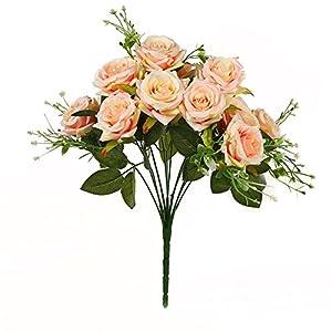 Luyue 造花 ローズバンチ 12花の頭 手作り 薔薇花束 ブーケ インテリア フラワーアレンジ 結婚式 お祝い 飾り ギフトなどにお勧め (シャンパン)