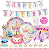 Unicorn Party Supplies Kit - Birthday Party Supplies|Headband|Cake Topper| Cupcake Wrappers|Popcorn Boxes Party Favors Bags| Napkins| Plates|Cups| 2 Table Cloths Decorations Theme for Girls| Serve 16