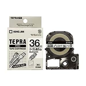 キングジム テプラPRO テープカートリッジ ケーブル表示ラベル 36mm 白/黒文字 SV36K