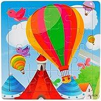 gqmart学習パズル、16 Piece Cute CartoonホットエアバルーンWooden Jigsaw Toys For Kids教育5.8 & Quot ; x5.8 & Quot ;
