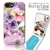 301-sanmaruichi- iPhone8 ケース iPhone7 ケース ミラーケース 鏡付き ミラー付き カード収納 おしゃれ 花柄 水彩 ボタニカル パステル 大人女子 A プリント ICカード iPhone6s 6 ケース