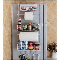 冷蔵庫サイドストレージラック吊り下げラックスパイスオーガナイザーバスケットホルダードアウォールシェルフ、キッチンバスルーム、ホワイト用
