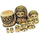 Baosity 7pcs Wooden Nesting Doll Matryoshka Gold Plated Babushka Russian Dolls Set