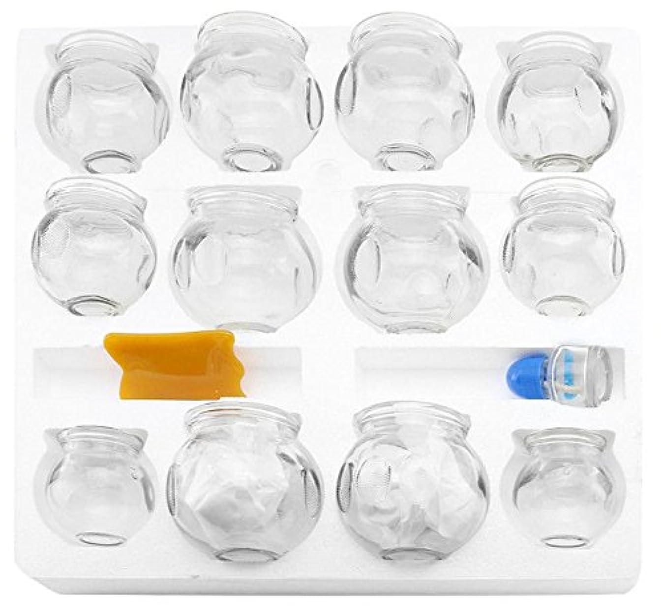 古風な知り合いになるカラス12 pcs厚いガラスカッピング療法セットfor Professionals ( 2カップ# 5 ~ 2.87