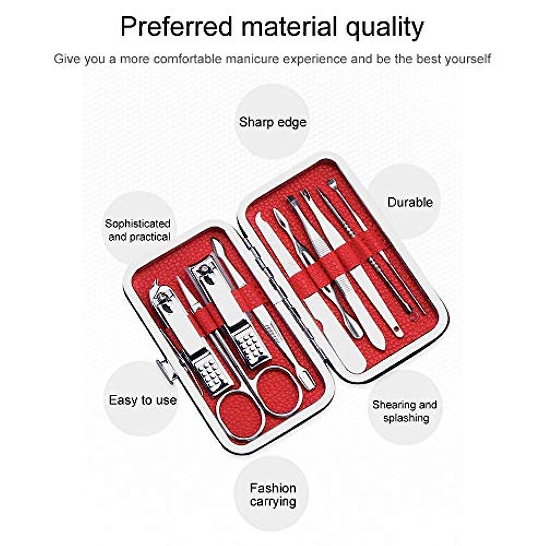 枯渇するメジャーファンシー爪切りネイルクリッパーキットステンレス鋼プロフェッショナルグルーミングキット、豪華なトラベルケース付き10個のネイルツールのセット