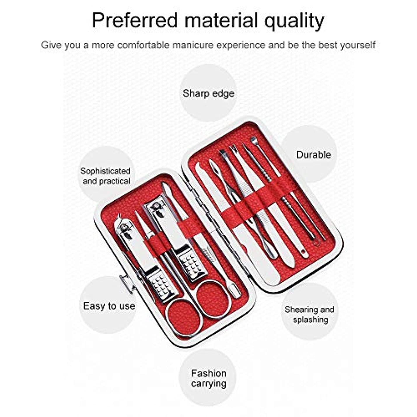 爪切りネイルクリッパーキットステンレス鋼プロフェッショナルグルーミングキット、豪華なトラベルケース付き10個のネイルツールのセット