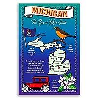 ミシガン州状態マップポストカードのセット20identicalはがき。Post Cards with Miマップと状態シンボル。Made In USA。