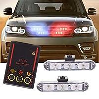 12V 2 LEDワイヤレスリモコンフラッシュ車トラック警察ライト赤と青の点滅ストロボLED警告灯,white