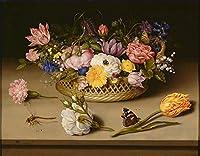 手描き-キャンバスの油絵 - Bosschaert Ambrosius 静物 of フラワーペインティング 芸術 作品 洋画 FRCL1 -サイズ15