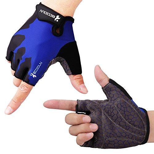 HIKING サイクリンググローブ 夏 3D 立体 サイクルグローブ 自転車 手袋 衝撃吸収 耐磨耗性 換気性 通気性 速乾性 滑り止め付き 3色 男女兼用 (ブルー, M)