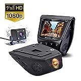 デュアルドライブレコーダー 1080P FHD 前後デュアル ドラレコ 170度広角レンズ スーパー夜ビジョン自動車カメラ 駐車監視 ドライビングレコーダー ダッシュカム GPS機能付き