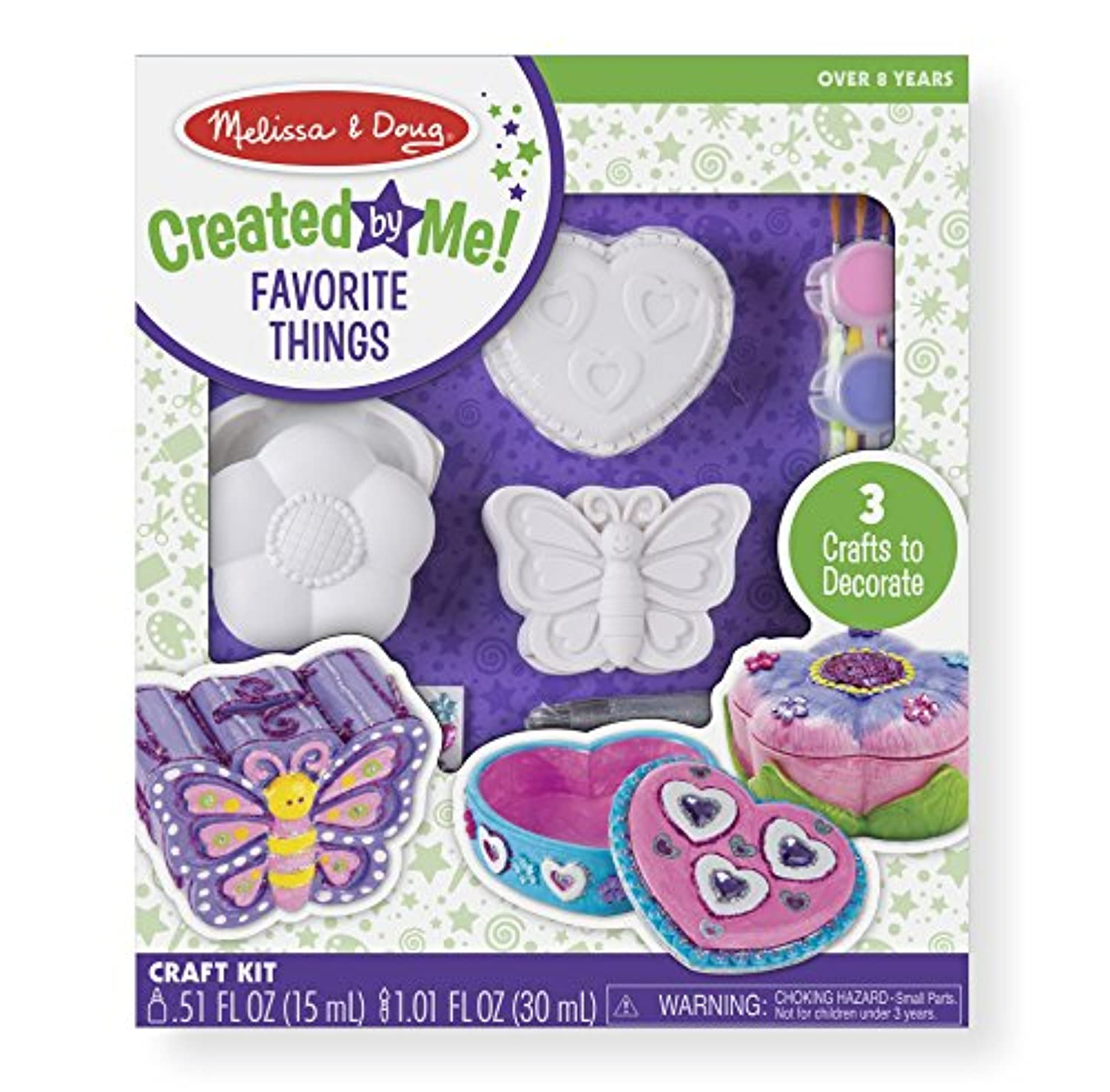Melissa & Doug decorate-your-own Favorite Thingsクラフトキットセット:花とハートTreasureボックスとバタフライ銀行