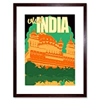Travel Ad Vintage India Visit Orange Framed Wall Art Print