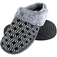 DUNLOP - Womens Cute Cosy Fluffy Memory Foam Knitted Slippers with Open Back Mules