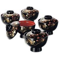 雑煮椀 5客セット 香琳4.0雑煮椀揃 黒 日本製 北市漆器