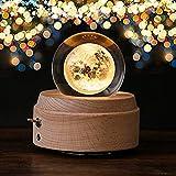 「最新版」誕生日プレゼント オルゴール 間接照明 おしゃれ LEDライト 月のランプ USB充電式 投影 クリスタル ボール インテリア かわいい 癒しグッズ 記念日 就職祝い 出産祝い 取扱説明書つき (Happy Birthday)