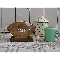 コーヒーフィルターケース 木製 ひのき CAFE&コーヒー豆ステンシル アンティークブラウン コーヒーペーパーケース 受注製作