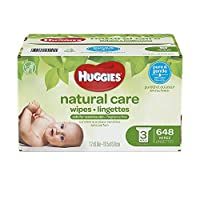 [Huggies] [Huggies Natural Care Unscented Baby Wipes, Sensitive, Hypoallergenic, Water-Based, 3 Refill Packs, 648 Count Total ](並行輸入品)