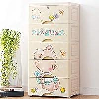 靴箱5つの引き出しの寝室の胸漫画のクマ、子供用DIY収納オーガナイザーワードローブキャビネット5段多目的ストレージユニット83 cmベージュ