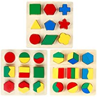 Monilon Wooden Preschool Shape Puzzle, 3 Packs Geometric Shape Colour Sorting Chunky Puzzle Kids Toys for Boys Girls - Early Learning Educational Toys for Kids Ages 3 4 5 + Years Old Toddlers Preschool