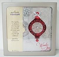 ホールマークpx4776シルバーwithレッドオーナメントボックス版カード–Wonder and Joy