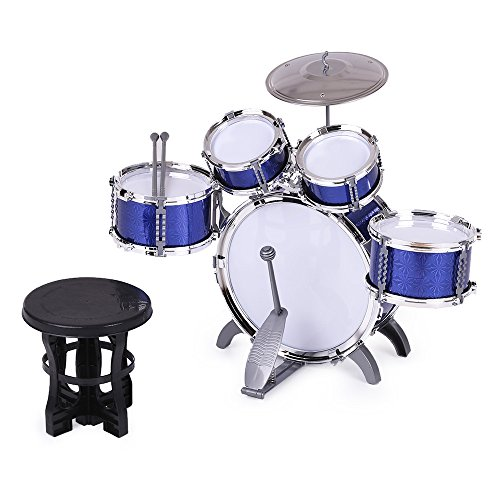 ammoon 10点セット キッズドラム ドラムセット 3色選択 楽器 玩具 1バスドラム/4ドラム/1小シンバル/2ド...