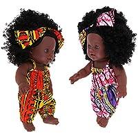 D DOLITY 12インチリボーンアフリカガールドール 新生児人形 ヘア飾り 服おもちゃ 全2個 全2カラー - #1
