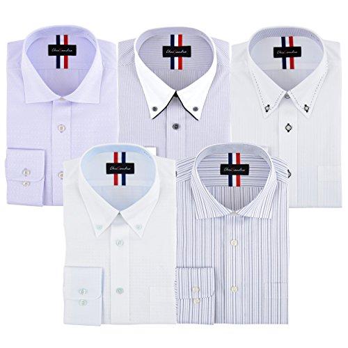 (クリサンドラ) Chrisandra 全8パターン 5枚セット 形態安定 加工 ビジネス レギュラー ボタンダウン 長袖 シャツ ワイシャツ 綿35% ゆったり着れる Yシャツ Oldani ポリエステル 洗える ネクタイ 1本 プレゼント 01 Mサイズ