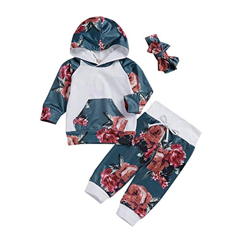 Mhomzawa 子供服 キッズ服 女の子 新生児 花柄トップス パーカー+パンツ+ヘアバンド 3点セット 満月/出産祝い/プレゼント