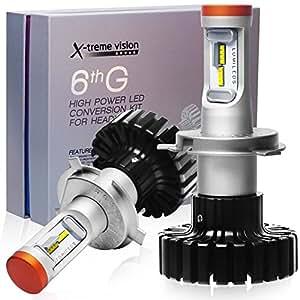 Goghty 車用LEDヘッドライトバルブ 6500K白光 取り付け簡単 超高輝度 車用 防水 一年保証 2本セット (H4)