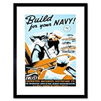 Vintage Ad Propaganda War WWII USA Build Ships Navy Island Framed Wall Art Print 第二次世界大戦アメリカ合衆国