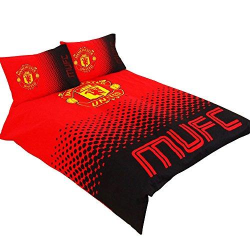 マンチェスター・ユナイテッド フットボールクラブ Manchester United FC オフィシャル リバーシブル 掛け布団カバー・枕カバーセット サッカーべディングセット (イギリスダブル) (レッド/ブラック)