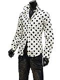 ドット シャツ ドット柄 シャツ メンズ 水玉 ドレスシャツ 日本製 長袖 7分袖 七分袖 半袖 804032 白[長袖] M