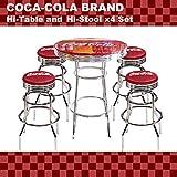 【セットでお得】★アメリカンバー COCA-COLA BRAND コカコーラブランド ハイテーブル&ハイスツール4脚セット(PJ-200T、PJ-205S×4)