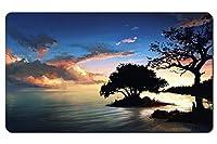 自然の風景の絵画、夜、木、湖、雲 パターンカスタムの マウスパッド 海 デスクマット 大 (60cmx35cm)