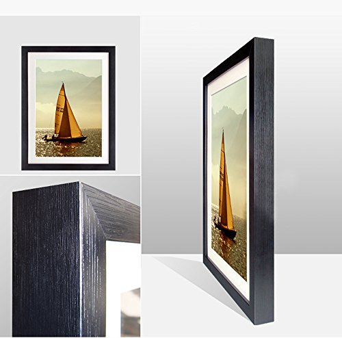 イタリア、ウンブリア、ケシフィールド、空、雲、山- 木製の黒色のフォトフレーム - 壁の絵 壁掛け ソファの背景絵画 壁アート写真の装飾画の壁画 - 白黒 旅行 風景 景色 - (40cmx30cm)